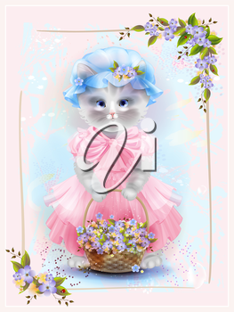Portrait of the vintage cat  with basket full of violets. Birthday card. Holiday congratulation. Greeting card. Floral frame.