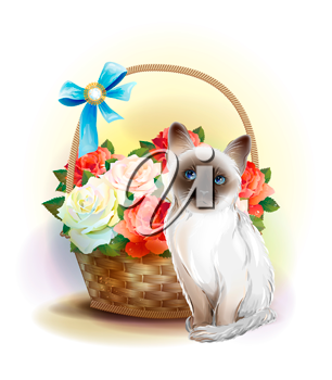 Happy birday card. Siamese kitten and basket with violets.