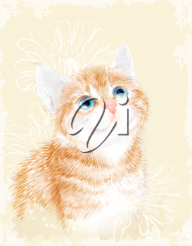Little kitten the red marble coloring with flowers.  Ginger fluffy kitten. Portrait oh the cat.  Spring illustration.