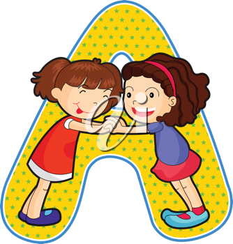 Royalty Free Clipart Image of Two Girls on the Letter A