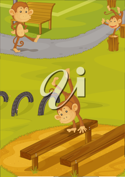 Royalty Free Clipart Image of Monkeys on a Playground