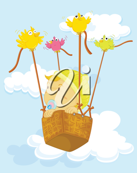 Royalty Free Clipart Image of a Baby in a Basket With Birds