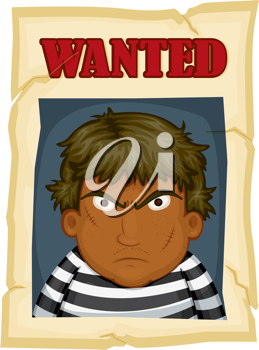 Royalty Free Clipart Image of a Man on a Wanted Poster