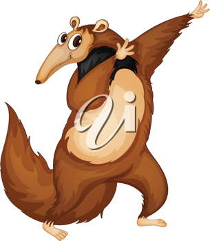Illustration of a comical anteater