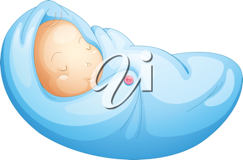 Illustration of newborn baby on white