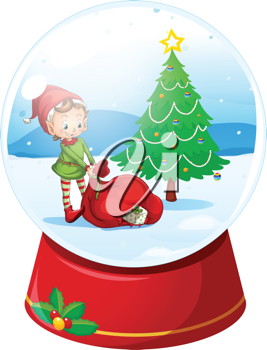 Illustration of a christmas snow globe