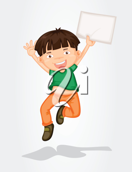 Illustration of a boy jumping with a banner