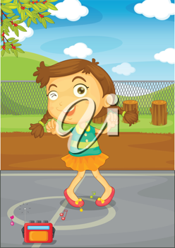 Illustration of a kid in a park
