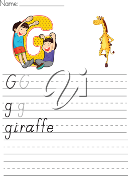 Alphabet worksheet of the letter G