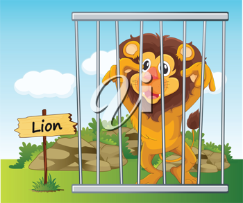 illustration of a lion in cage and wooden board