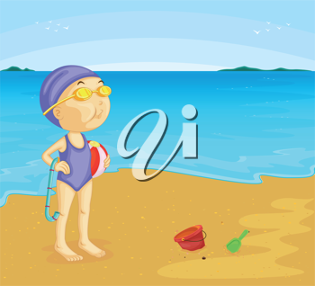 Illustration of lady on the beach