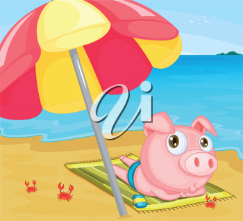 Illustration of pig at the beach
