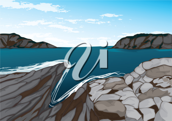 detailed illustration of a sea and mountains