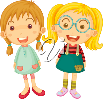 Illustration of Two Girls on white background