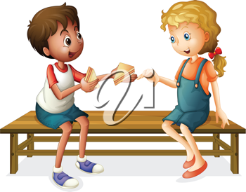illustration of kids sitting on a bench on a white background