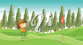 illustration of a boy playing golf in a beautiful nature
