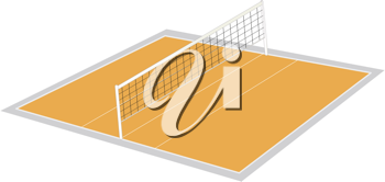 illustration of volley ball ground on a white
