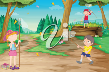 illustration of kids playing outdoor in jungle