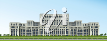 detailed illustration of Ceausescu Palace