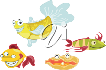 Many fish together as a team