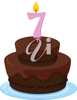 illustration of a cake with candle 7 on a white background