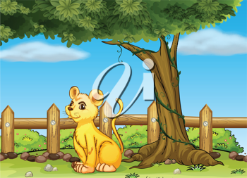 Illustration of a young  tiger inside the fence