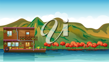 Illustration of a river and a boat house in a beautiful nature