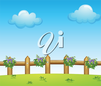 Illustration of the wooden fence with plants