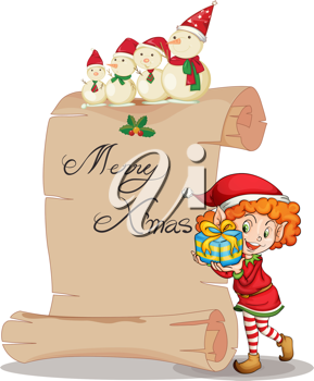 detailed illustration of a girl and a snowman on a white background