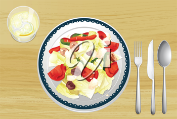 Illustration of garnished salad in dish on wooden table