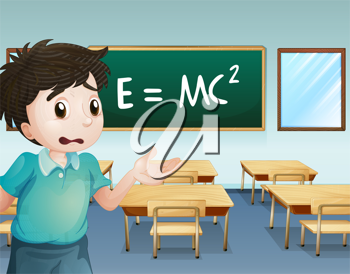 Illustration of a boy in the classroom