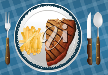 illustration of a Steak and fries on a blue placemat