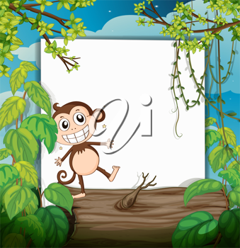Illustration of a monkey and a white board in a beautiful nature