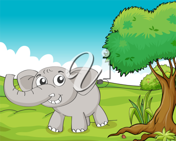 Illustration of a little gray elephant in the woods