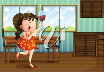 Illustration of a girl holding a glass of wine