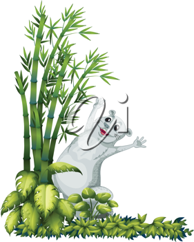 Illustration of a cheerful animal beside a bamboo tree on a white background