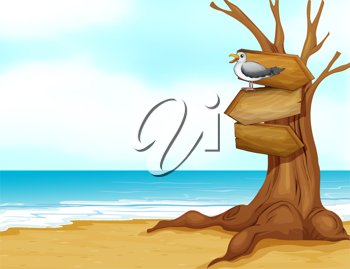Illustration of a beach with a wooden signboard