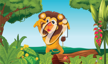 Illustration of a king lion in the woods