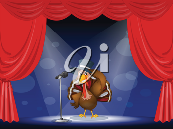 Illustration of a turkey with a hat at the center of the stage