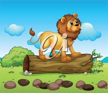 Illustration of a lion standing above a trunk of a tree