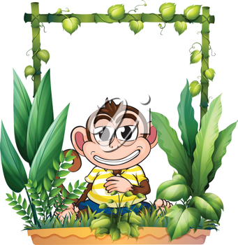 Illustration of a monkey smiling on a white background