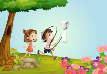 Illustration of smiling kids in a beautiful nature