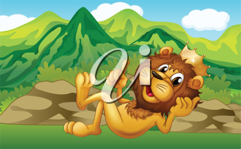 Illustration of a king lion across the mountain