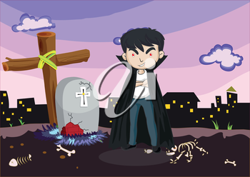 Illustration of a vampire at the cemetery