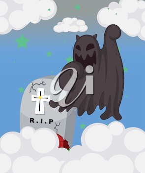 Illustration of a ghost at the cemetery