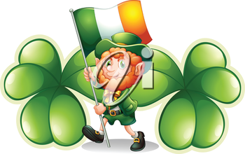 Illustration of a man with a flag in front of the two big clover plants on a white background