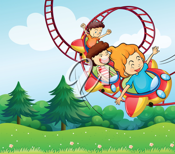 Illustration of the three kids riding in the roller coaster