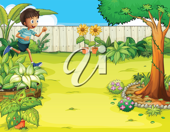 Illustration of a boy running at the backyard