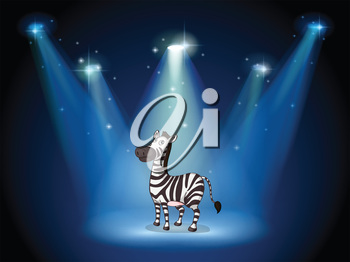 Illustration of a zebra at the stage with spotlights