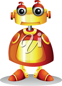 Illustration of a toy robot on a white background